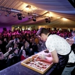 Friday - Crowded tent for the Bollinger National Oyster Opening Competition b