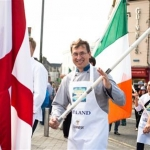 Johann Schlag of Finland marching in the Community Parade as part of the 59th Galway International Oyster & Seafood Festival (Custom)