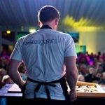 Michael Moran competing in the Irish Oyster Opening Championship