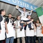Saturday - Michael Moran congratulated by fellow competitors