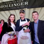 Ken Kinsella, Findlater Wine and Spirit group with Oyster Festival Pearl Serena Trench and with World Champion Oyster Opener Xavier Caille from Belgium at the 57th Galway International  Oyster Festival. Photo:Andrew Downes