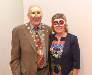 Mayor of Galway, Noel Larkin and wife Rita pictured at the Galway International Oyster and Seafood Festival, Masquerade Ball. Photo: Boyd Challenger