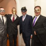 Aaron Clarke, Russel Greaney, Paul Greaney, Mike Doona and John Gunderson pictured at the Galway International Oyster and Seafood Festival, Masquerade Ball. Photo: Boyd Challenger
